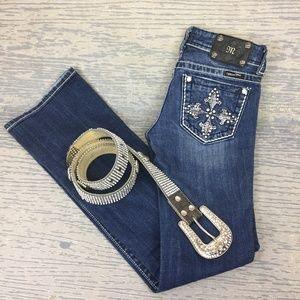 Miss Me boot cut rhinestone pocket jeans